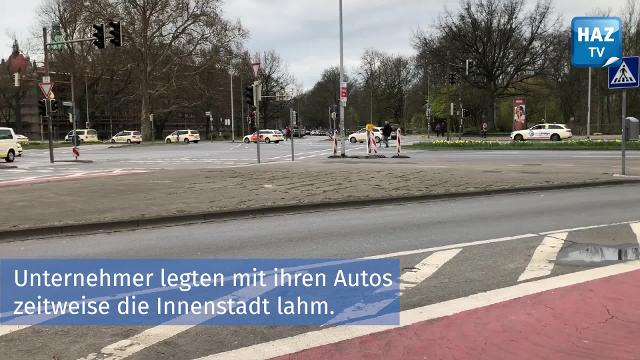 Taxi-Fahrer demonstrieren in Hannover